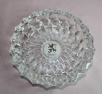 Lowen Brau Beer  Ashtray  Diamond Point  Heavy  Glass   7  Inch Vintage