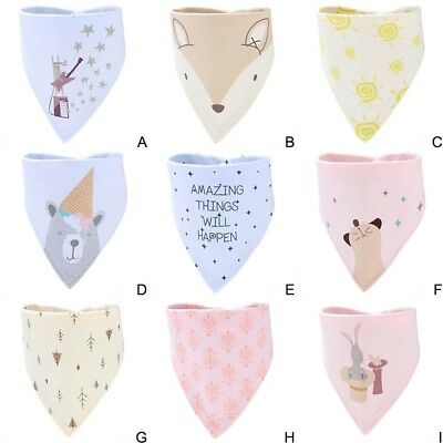 Baby Bibs Kids Cotton Head Scarf Towel Boy Girl Dribble Feeding Saliva Bandana