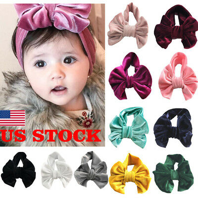 US Stock Soft Baby/Girls Kids Toddler Bow Hairband Headband Turban Knot HeadWrap