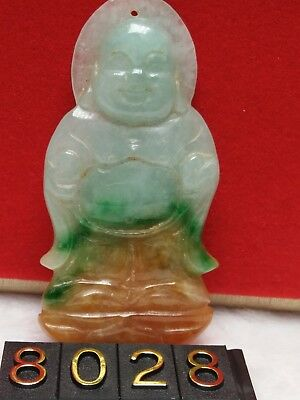 Old Chinese Antique Natural Green Jade Jadeite Buddha Carving Pendant Necklace