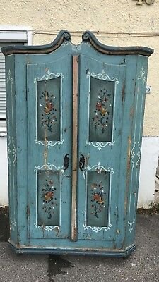 Traditional Painted Shelved Cupboard Armoire Cabinet