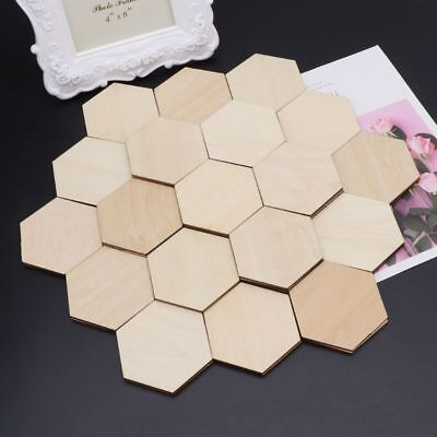 50-200X Wood Hexagon Shapes Wooden Embellishment for Crafting Sewing Decorating