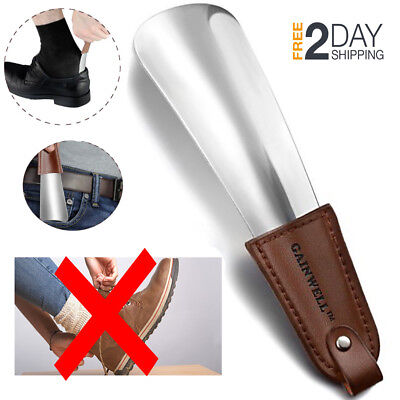 Shoe Horn For Men Travelling Stainless Steel Small Mini W/ Leather Strap Handle