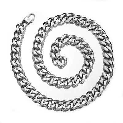 "Men Women Silver Stainless Steel 15mm width Heavy Curb Chain Necklace 18""-40"""