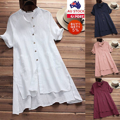 Plus Size Women Cotton Shirt Baggy Loose Tops Ladies Casual Button Tunic Blouse