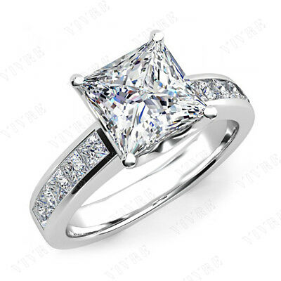 2.50ct Princess Cut Diamond Solitaire Engagement Ring 10k Real White Gold Womens