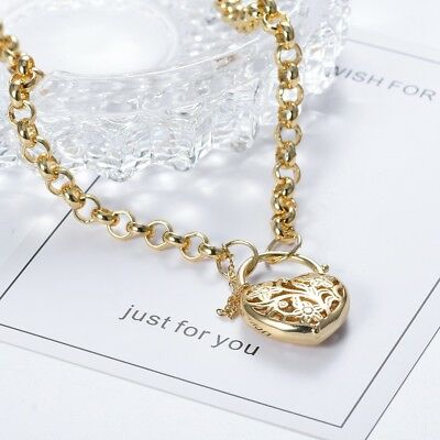 Vintage Style Women 14K Yellow Gold Filigree Heart Padlock Pendant Necklace 26""