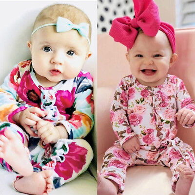 Unisex Toddler Baby KidGirl&Boy Long Sleeve Floral Print Romper Jumpsuit Clothes