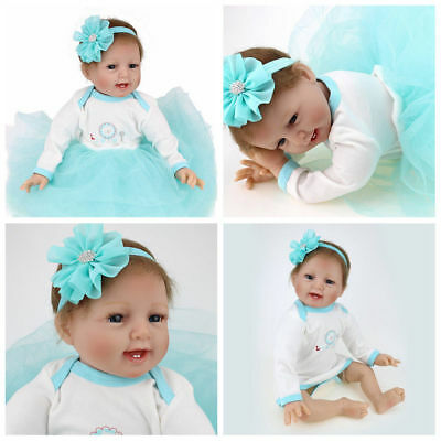 """Handmade 22"""" Reborn Doll Baby Girl Doll Lifelike Silicone Toddler Xmas Gifts New"""