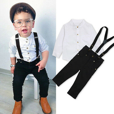 2Pcs Toddler Kids Baby Boys White Shirt+Strap Pants Trousers Outfits Set Clothes