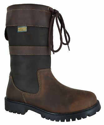Ladies Country Riding Comfort Leather Smart Casual Waterproof Boots Shoes Sz