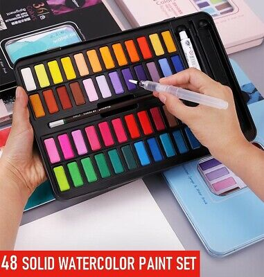 24 Solid Watercolor Paint Set High Pigment Refillable Water Brush And Sponge