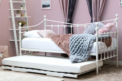 White Metal Day Single Bed Frame with Optional Guest Pull Out Trundle Bed