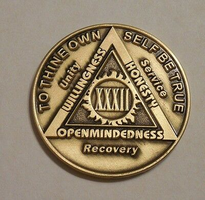 aa bronze alcoholics anonymous 32 year sobriety chip coin token medallion