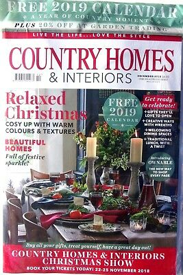 Country Homes & Interiors Magazine December 2018 With Free 2019 Calendar ~ New ~
