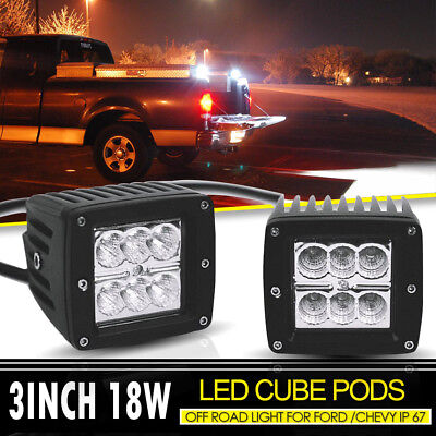 2X 3Inch Cube Pods Flood LED Driving Bumper Fog Lights For Off Road Boat Trailer