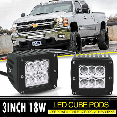 "Pair 3x3""IN 18W Headlight LED WORK LIGHT Cube Pods For Yamaha Raptor 660 4x4 ATV"