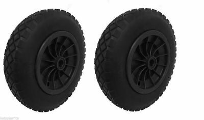 "Pack Of 2 Black 16"" Puncture Proof Wheelbarrow Wheel - 4.80/4.00-8 - 1"" Bore"