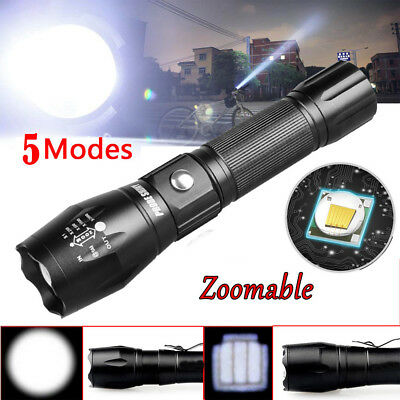 Tactical Police 5000LM Zoom XM-L T6 LED 5Modes Flashlight Aluminum Torch USA