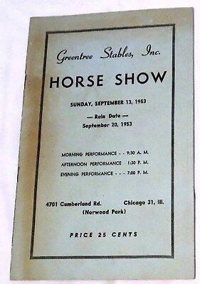 1953 Greentree Stables Horse Show in Norwood Park, Chicago, Illinois Program