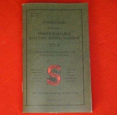 Singer Featherweight 221 221-1 Sewing Machine Owner's Manual Instruction Booklet