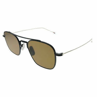 deb8f66d511 Thom Browne TBS907 50-03 Matte Navy Silver Metal Sunglasses Dark Brown AR  Lens