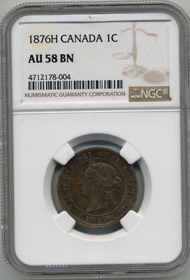 Canada Queen Victoria 1876H One Cent Ngc Au58 Bn