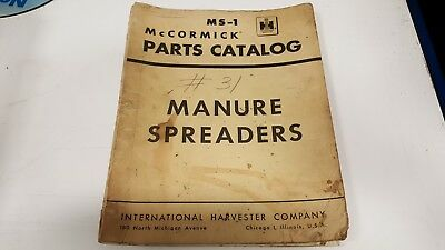 Vintage 1961 International Harvester Mccormick Parts Catalog Manure Spreaders