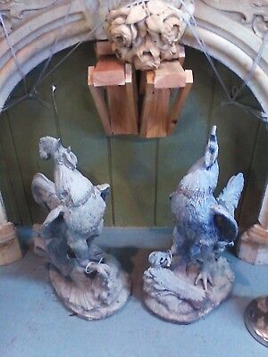 Antique PR Roosters Lead Garden FigurInes England Crowing PR Lead Chanticleer *