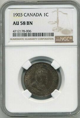 Canada King Edward Vii 1903 One Cent Ngc Au58 Bn