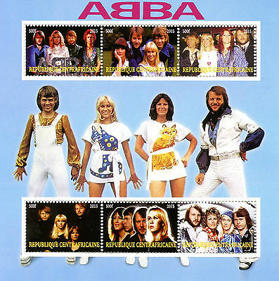 Central African Rep 2015 MNH ABBA 6v M/S Pop Stars Celebrities Music Stamps