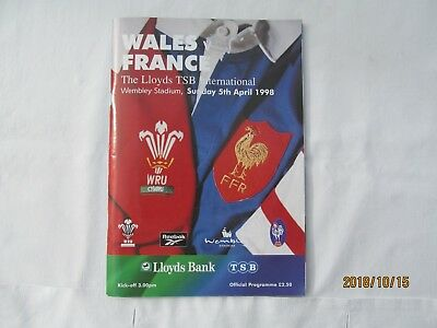 Wales v France Rugby Union Programme1998 at Wembley Stadium + Event  Tickets