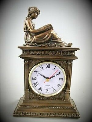 Table Clock Travel Watch Polystone Bronze Women Sculpture Coloured Mantle