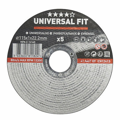 "Metal Cutting Disc 4½"" (115mm) x 1 x 22.2mm 5 Pack Angle Grinder Discs	 			..."