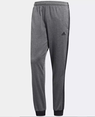 Adidas Men's Essentials Joggers Size Large Gray Tricot Pants Tapered 3-Stripes