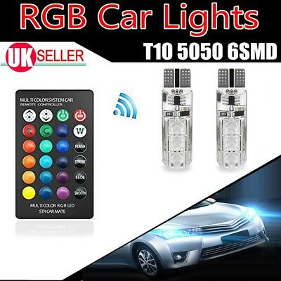 2x LED T10 W5W 501 RGB Color Changing Remote Control Car Wedge Side Light Bulbs