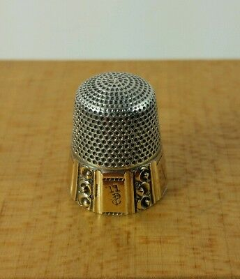 Beautiful Vtg. Antique Sterling Silver Gold Thimble Stern Brothers 5 Panel I