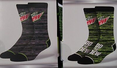 PUGS Mountain Dew Crew Socks NWT's, One Size Fits All ~ Free Shipping