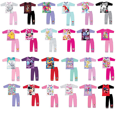 Girls Kids Baby Disney Pyjamas Long Sleeve Top & Bottoms Set Age 1 - 12 Years