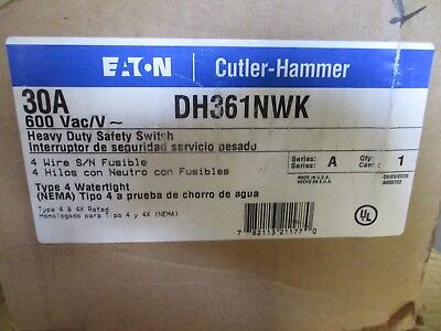 Cutler Hammer Dh361Nwk, 30 Amp 600V Fusible Stainless Steel Disconnect- New