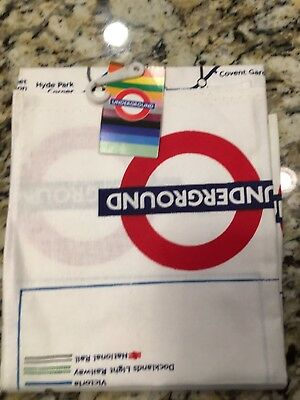 Tea Towel Cotton with Transport for London Underground Tube Map Print
