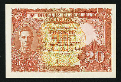 """AU"" 1941 1945 Malaya Board of Commissioners of Currency 20 Cents P-9a, #030"