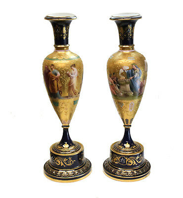 Pair Large Royal Vienna Hand Painted Porcelain Vases, Late 19th Century