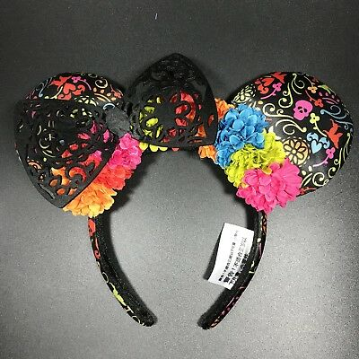 NWT Disney Coco Ears Authentic Parks Perfect  Minnie Dia de los Muertos Black