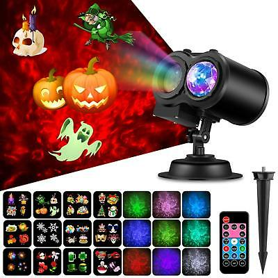Halloween Projector Light,2 in 1 Water Wave Light Projector with 12 Slides,Remot