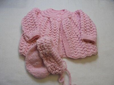Hand Knitted Baby Matinee Coat & Matching Bonnet for 0-3 months or Reborn Dolls