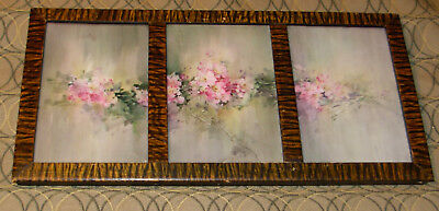 Exceptional Antique Painted  Floral Tiles Metal Frame