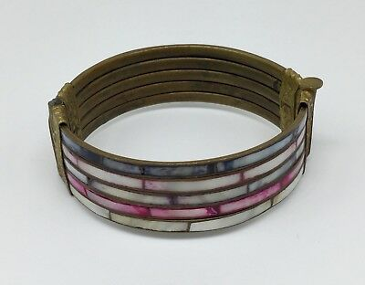 Antique Vintage Brass Hinged Bangle Bracelet Inlaid Dyed Mother Of Pearl Shell