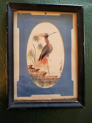 Vintage Flamingo Art Print Picture Decor w Feathers small frame handmade 5x7""