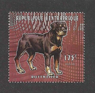 Dog Art Full Body Portrait Postage Stamp ROTTWEILER Central Africa 1997 MNH